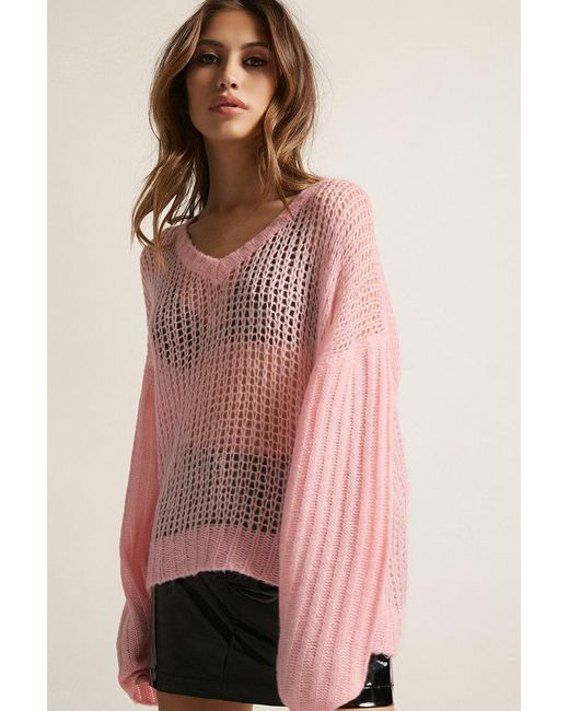 Forever 21 - Pink Pixie & Diamond Open-knit Sweater - Lyst