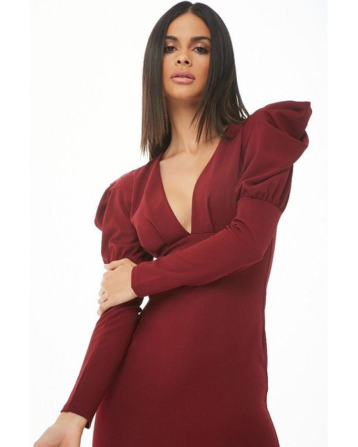 Forever 21 Red Puff-sleeve Bodycon Dress , Wine