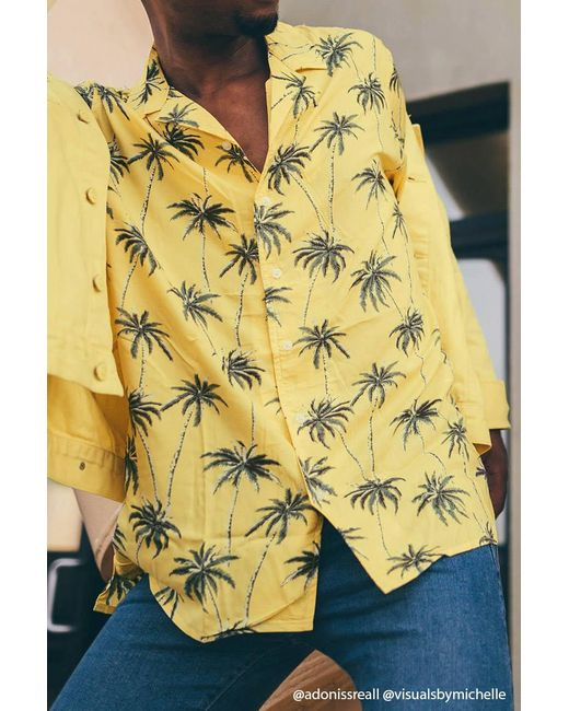 Forever 21 | Yellow Palm Tree Shirt for Men | Lyst