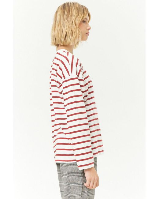 30a7162a69 ... Forever 21 - Red Striped Crew Long Sleeve Top - Lyst ...