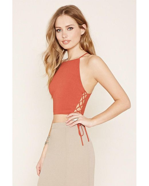 Forever 21 | Orange Lace-up Cropped Cami | Lyst