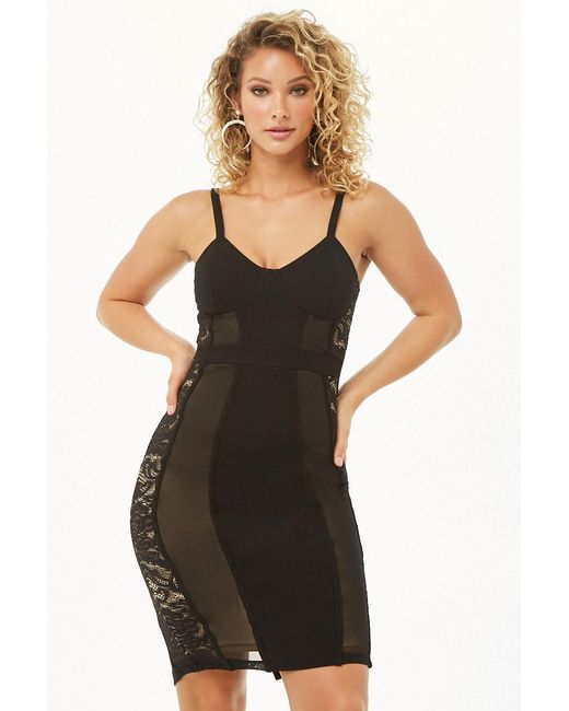 Forever 21 - Black Bustier-inspired Crochet Lace-trim Bodycon Dress - Lyst