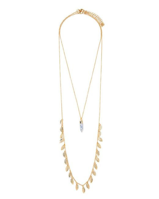 Forever 21 | Metallic Leaf And Faux Stone Necklace Set | Lyst