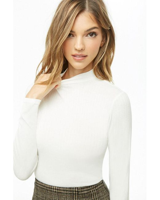 103b446e555d1 Forever 21 - Natural Ribbed Knit Crop Top - Lyst ...