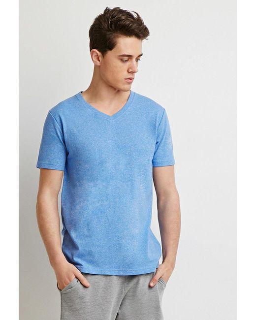 Forever 21 - Blue Heathered V-neck Tee for Men - Lyst