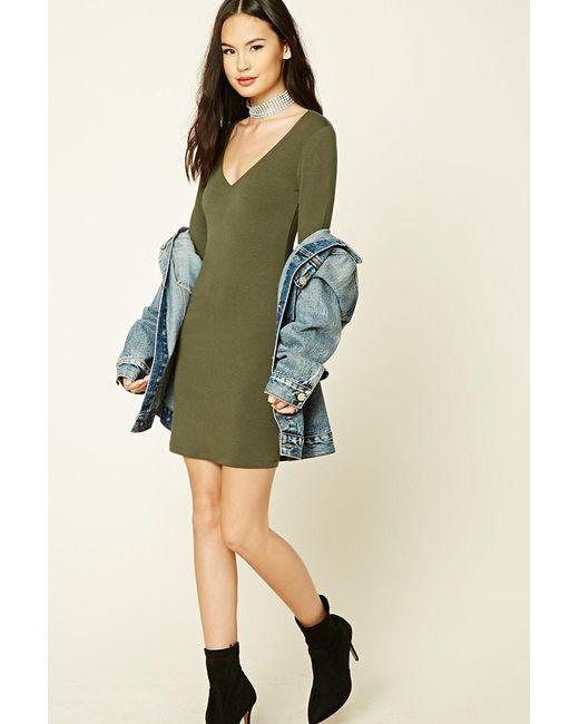 Forever 21 - Green V-neck Bodycon Dress - Lyst