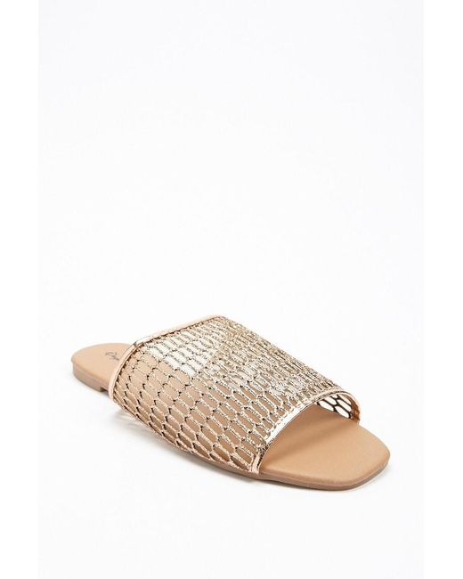 5dfa01d00f1 ... Forever 21 - Metallic Qupid Faux Leather Slide Sandals - Lyst