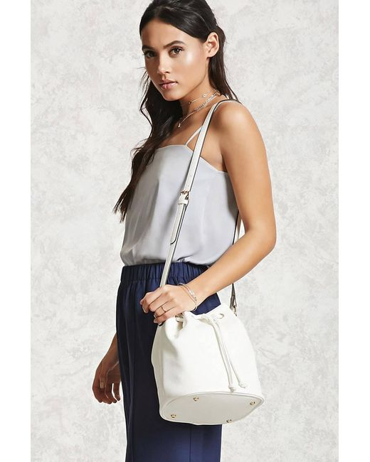Forever 21 | White Pebbled Faux Leather Bucket Bag | Lyst