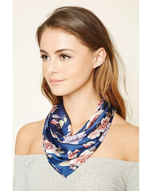 Forever 21 | Blue Floral Square Scarf | Lyst