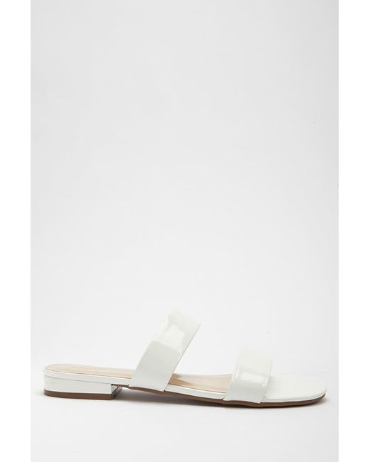 Forever 21 - White Faux Patent Leather Double-strap Sandals - Lyst
