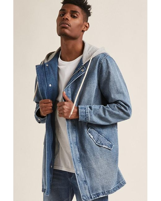 33cc5256b Men's Blue 's Hooded Denim Jacket