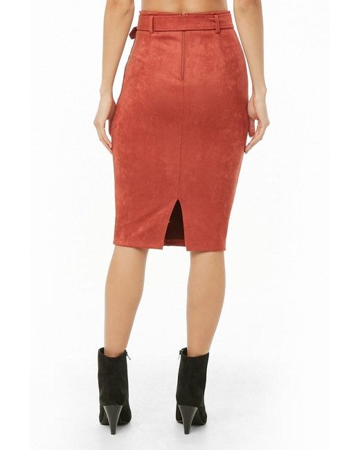 ff7e28549f ... Forever 21 - Red Faux Suede Button-front Pencil Skirt - Lyst ...