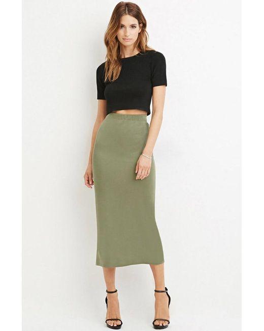 Forever 21 | Green Vented-hem Midi Skirt | Lyst