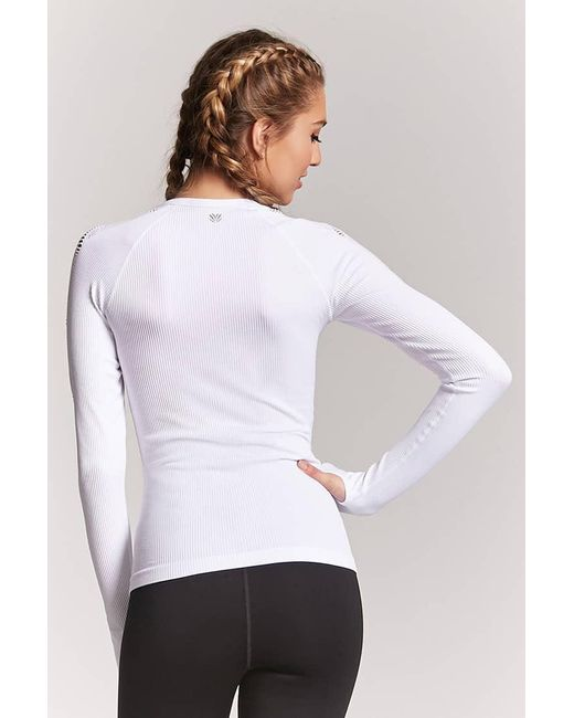 Lyst Forever 21 Active Ribbed Open Knit Top In White
