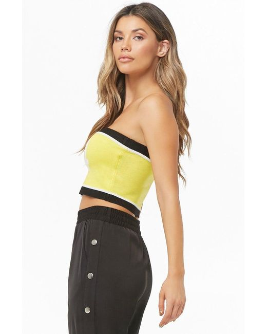 b597852c38 ... Forever 21 - Yellow Women s Cropped 94 Graphic Colorblock Tube Top -  Lyst