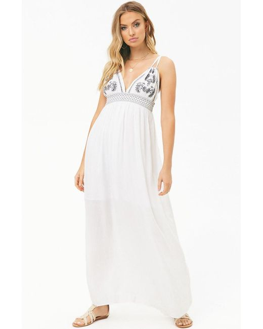 Forever 21 - White Women's Boho Me Embroidered Maxi Dress - Lyst