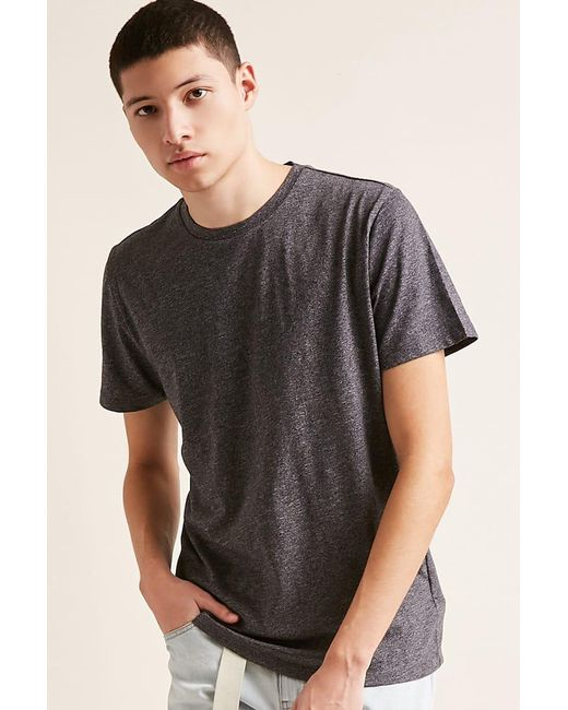 Forever 21 - Gray Marled Crew Neck Tee for Men - Lyst