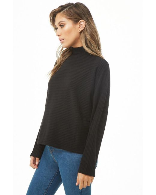 18f05ead3e4f78 ... Forever 21 - Black Ribbed Mock Neck Top - Lyst