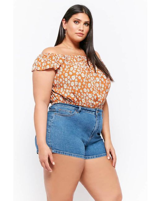 bf38b83a693 ... Forever 21 - Multicolor Plus Size Daisy Off-the-shoulder Top - Lyst ...