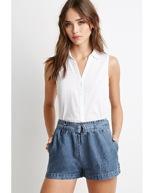 Forever 21 | Blue Belted Chambray Shorts | Lyst