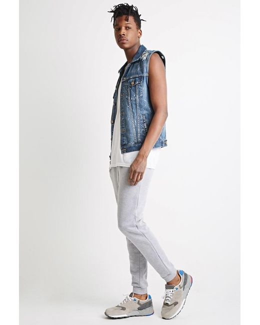 Forever 21 | Blue Distressed Paint-flecked Denim Vest for Men | Lyst