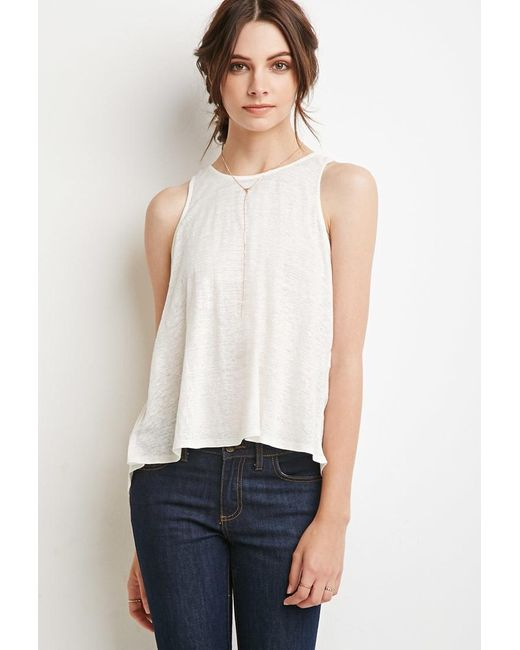 Forever 21 | Natural Linen Slit-back Tank You've Been Added To The Waitlist | Lyst