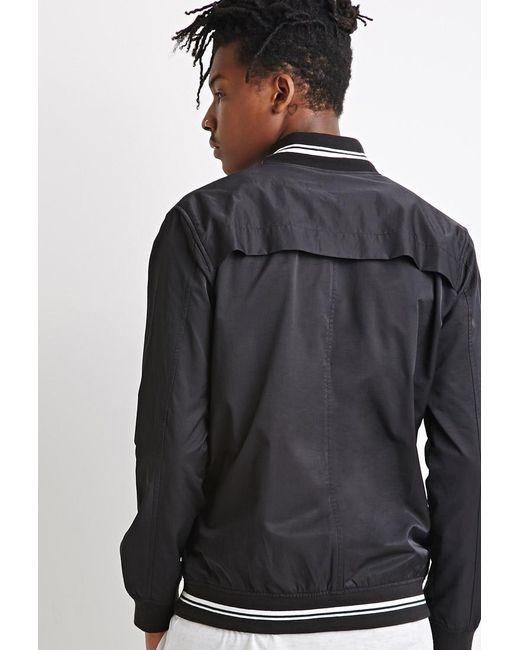 Forever 21 | Black Varsity-striped Baseball Jacket for Men | Lyst