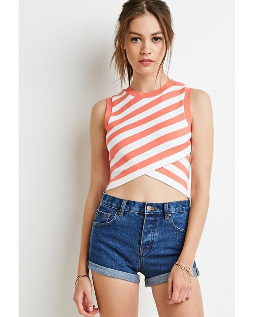 Forever 21 | Pink Striped Wrap Sweater | Lyst