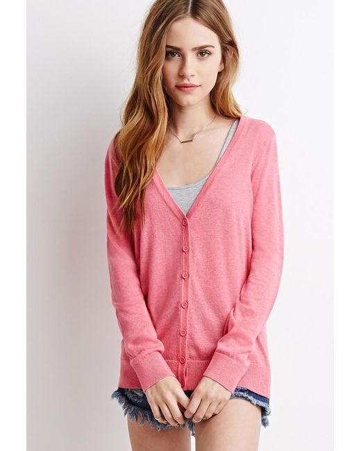 Forever 21 | Pink Classic V-neck Cardigan | Lyst