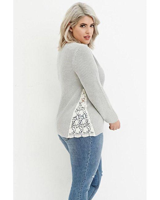 Forever 21   White Floral Crochet-paneled Rib Sweater   Lyst