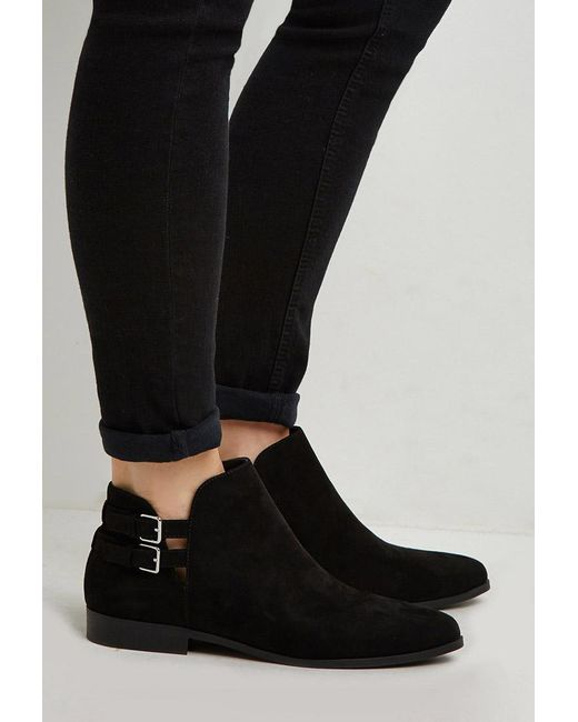 Forever 21   Black Buckled Faux Suede Ankle Booties   Lyst