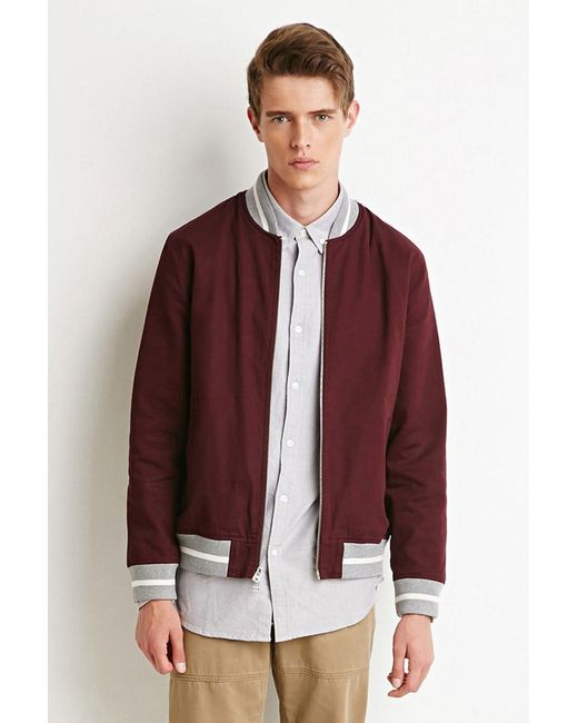 Forever 21 | Purple Zip-front Varsity Jacket for Men | Lyst