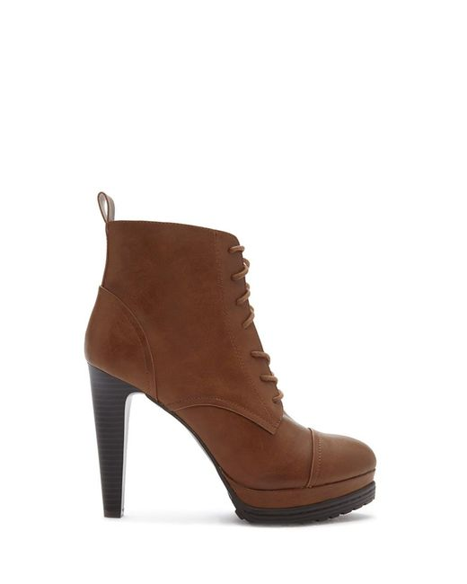 Forever 21 | Brown Lug Sole Lace-up Booties | Lyst