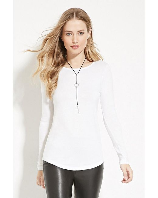Forever 21 | White Cutout Back Longline Top | Lyst
