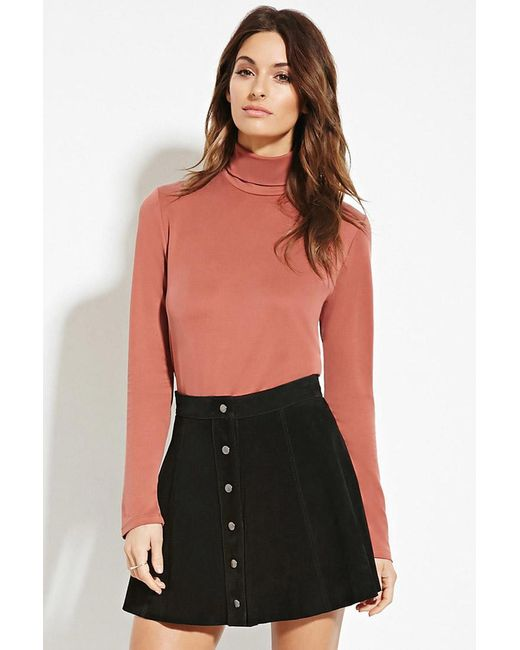 Forever 21 | Brown Buttoned-turtleneck Top | Lyst
