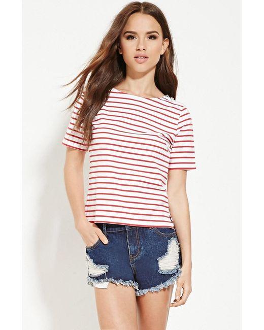 Forever 21 | Red Zip-shoulder Striped Top | Lyst