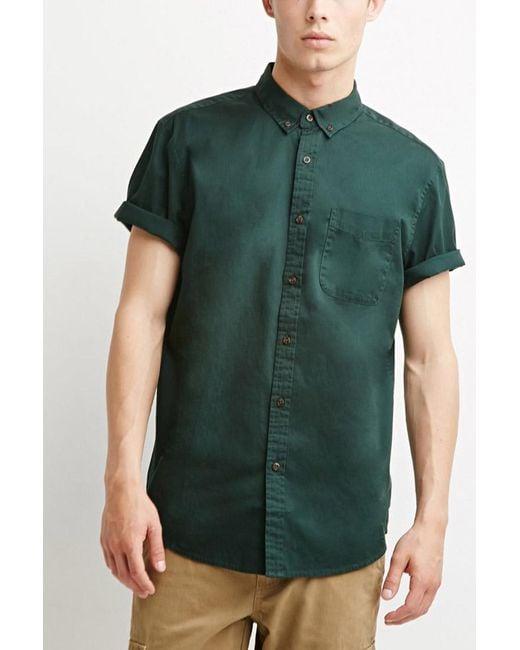 Forever 21 | Green Buttoned-collar Shirt for Men | Lyst