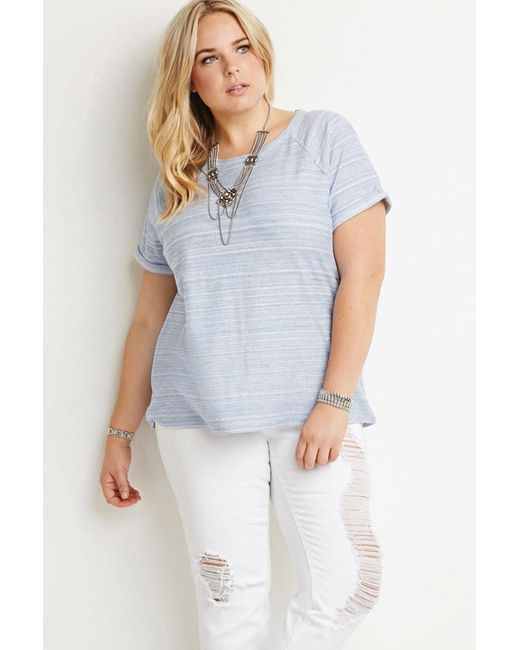 Forever 21 | Blue Cuff Marled Top | Lyst