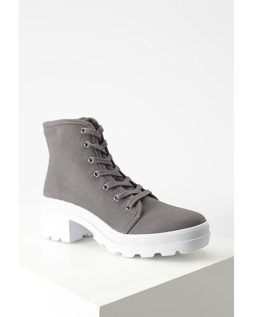 Forever 21 | Gray Canvas Lug Platform Boots | Lyst