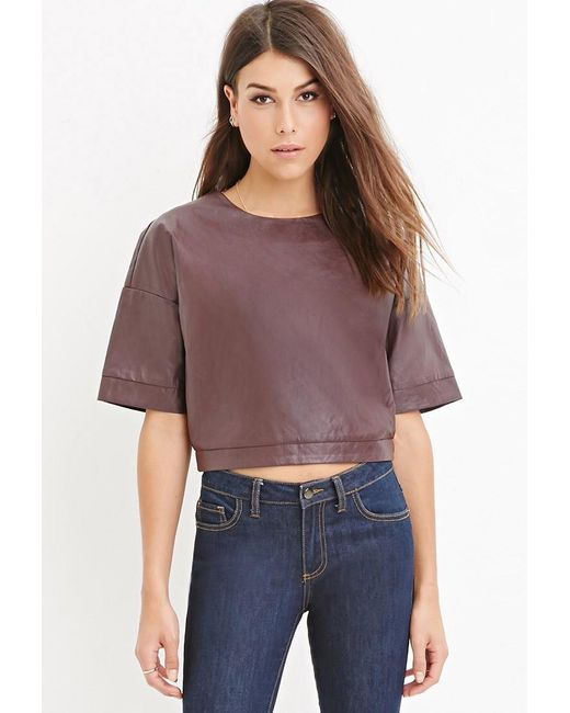 Forever 21   Purple Faux Leather Boxy Top   Lyst