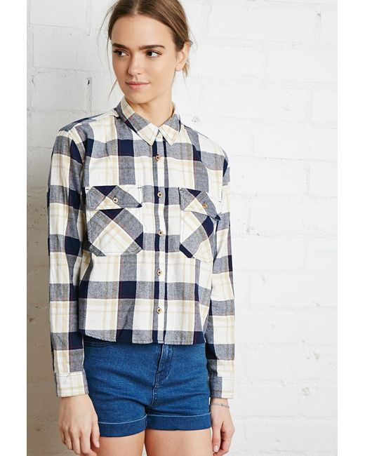 Forever 21 | Natural Boxy Check Flannel Shirt | Lyst