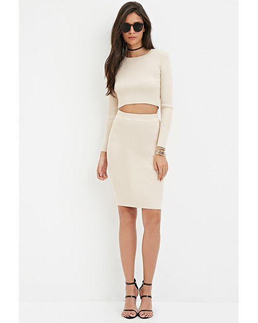 Forever 21 | Natural Ribbed Knit Pencil Skirt | Lyst