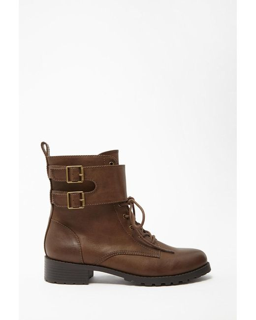 Forever 21 | Brown Buckled Faux Leather Boots | Lyst