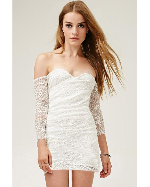 Forever 21 | White Lovecat Off-the-shoulder Lace Dress | Lyst
