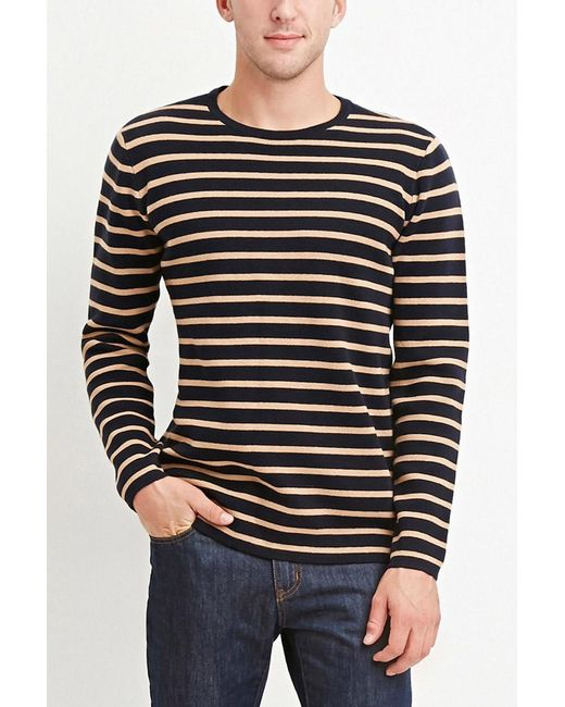 Forever 21 | Blue Stripe-patterned Cotton Tee for Men | Lyst