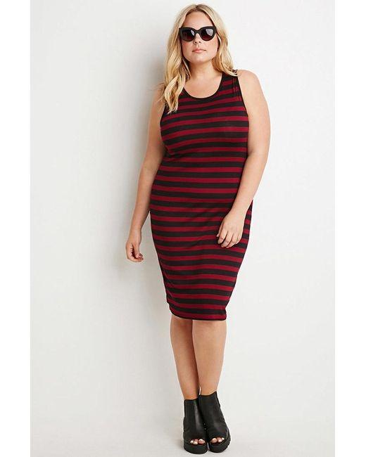 Forever 21 | Purple Plus Size Striped Midi Dress | Lyst