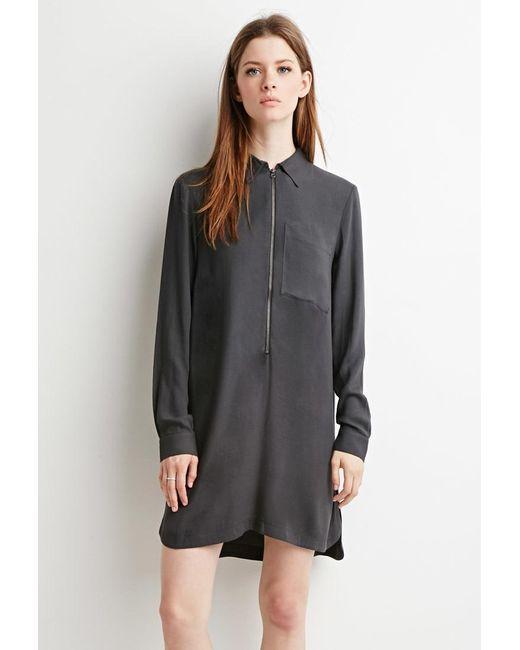 Forever 21   Gray Zippered Shirt Dress   Lyst