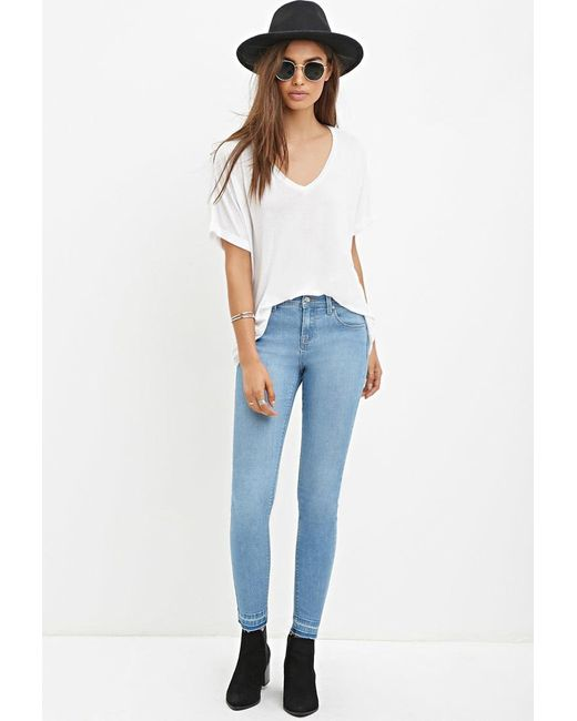 Forever 21   Blue Low-rise Skinny Jeans   Lyst