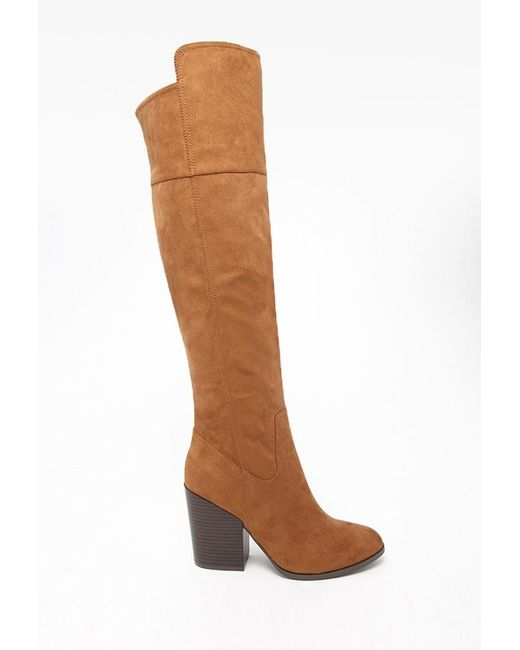 Forever 21 | Brown Faux Suede Knee-high Boots | Lyst