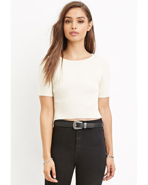 Forever 21 | White Ribbed Knit Cropped Top | Lyst